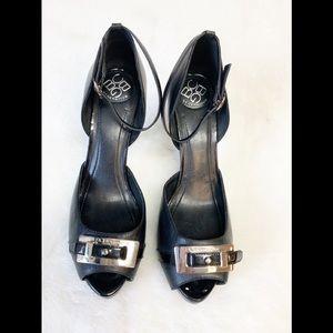 "BCBGeneration ""Erica"" Black Leather Peep Toe Heels"